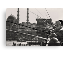 Fishing & thinking on Galata bridge Canvas Print