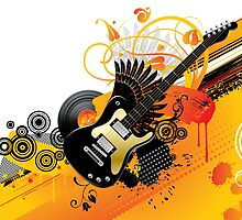 Background with a guitar by maystra