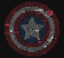 Marvel Captain America Shield Typography T-Shirt by Ingleburt