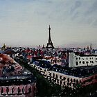 Paris Eiffel Tower French Cityscape Acrylic Painting by JamesPeart
