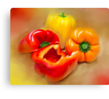 Yellow, Red and Orange Peppers Canvas Print