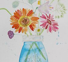 Summer Flowers in Blue Ball Jar by SallyHopkins