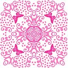 Pink 'n White Butterfly Medallion by 2HivelysArt