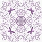 Purple 'n White Butterfly Medallion by 2HivelysArt