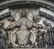 Outside Tympanum Rene Martin 1763 Vezelay France 198405050039 by Fred Mitchell