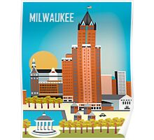 Milwaukee, Wisconsion - Vertical Retro Themed Skyline by Loose Petals Poster