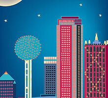 Dallas, Texas - Vertical Nighttime Skyline Illustration by Loose Petals by Loose  Petals