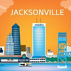 Jacksonville, Florida - Horizontal Travel Themed Skyline Illustration by Loose Petals by Loose  Petals