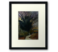 Ancient English Tree Countryside Painting Acrylics On Canvas Framed Print