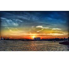 sunset at carltons wharf, east boston  Photographic Print