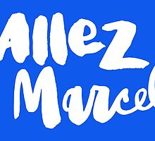 Allez Marcel! White on Blue by finnllow