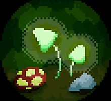 Pixeled Glowing Mushrooms by Leamony