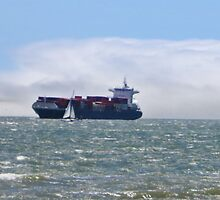 San Francisco Freighter coming in by David Denny