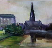The Mill And The Church Fine Art English Countryside Acrylic Painting by JamesPeart