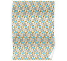 Tumbling Blocks, Orange/Blue Poster