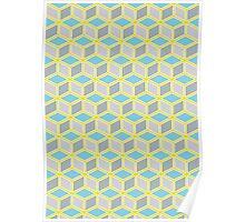 Tumbling Blocks, Yellow/Blue Poster