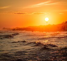 Orange Watercolor Beach Sunset by katecollections