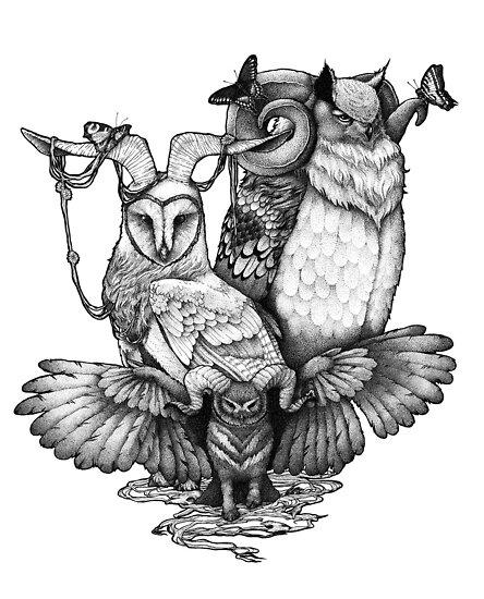Goatowls (b&w) by Zuzanna Krolik