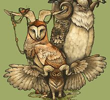 Goatowls (colour) by zuzannakrolik