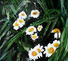 Daisies Wild English Countryside Flower Acrylic Painting On Paper by JamesPeart