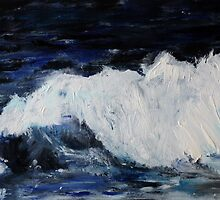 Ocean Waves Seascape Acrylic Painting On Paper by JamesPeart