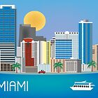 Miami, Florida - Retro Travel Themed Horizontal Illustration by Loose Petals by Loose  Petals