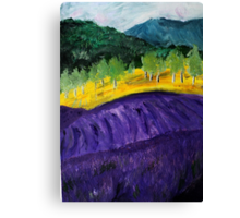 Lavender Fields Colorful Countryside Purple Flowers Acrylic Painting Canvas Print