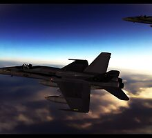 A pair of F-18 Super Hornets by tomandersonart