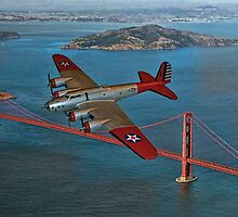 B-17B and Golden Gate Bridge by tomandersonart