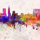 Indianapolis skyline in watercolor background by paulrommer