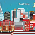 Nashville, Tennessee - Horizontal Retro Travel Themed Skyline Art by Loose Petals by Loose  Petals