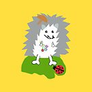 Hedgehog and Lady Bug Throw Pillows, Tote Bag Yellow by Vitta