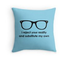 i reject your reality and substitute my own - Blue and Black Line Throw Pillow