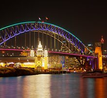 Vivid Bridge behind Luna Park by Erik Schlogl