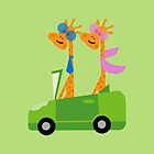 Giraffes and Car Throw Pillows, Tote Bag Green by Vitta