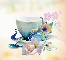 Romantic peacock teacup and rose by walstraasart