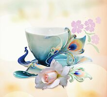Romantic still life with Peacock teacup, Rose and cherry fowers by walstraasart