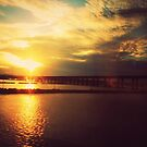 sunset over a bridge by ShellyKay