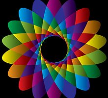 Rainbow Geometric Circle Dark Version  by amstar
