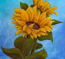 Sunflower II on Blue  by Amy Sue Stirland