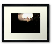 Bokeh Fireworks Through Metal Railing Framed Print