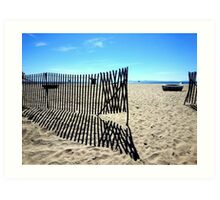 Fence on the Beach Art Print