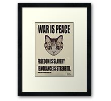 Orwellian Cat Says War Is Peace Framed Print