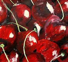 Cherries Kitchen Decor Fruit Red Acrylic Contemporary Painting by JamesPeart