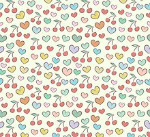 Pattern with colorful hearts and cherries by jentesmiler