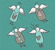 Illustration with cute hand draw angels by jentesmiler