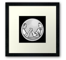 Businessman Office Worker Arm Wrestling Grayscale Framed Print
