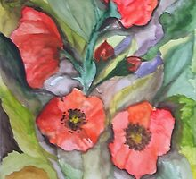 Watercolor poppies by ISABEL ALFARROBINHA