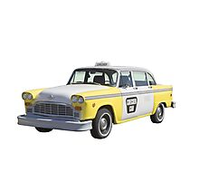 Yellow and White Checkered Taxi Cab Photographic Print