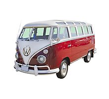 Red And White VW 21 window Mini Bus Photographic Print